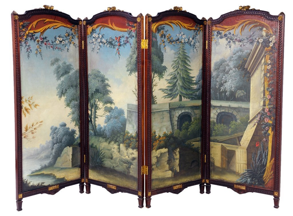 23: A FRENCH PARCEL GILT AND MAHOGANY PAINTED FOUR PANE