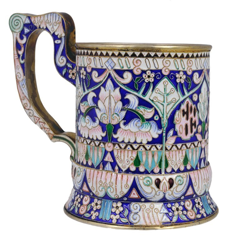 24: A RUSSIAN ENAMELED SILVER CUP HOLDER 19th Century V