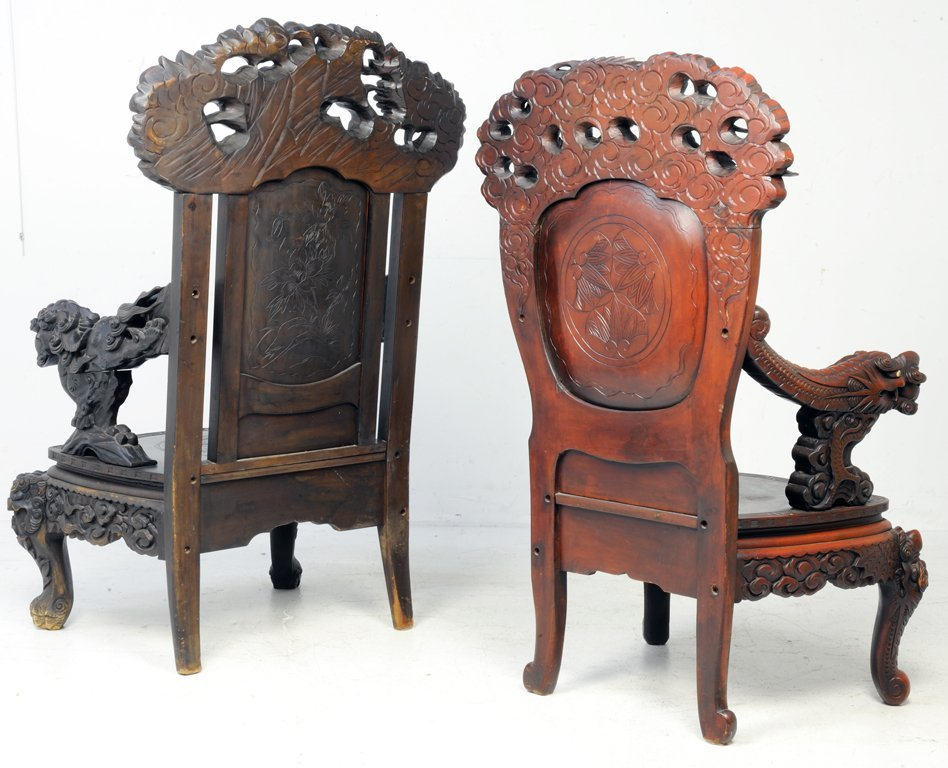 37: A RARE PAIR OF ANTIQUE CHINESE THRONE CHAIRS Late - 2