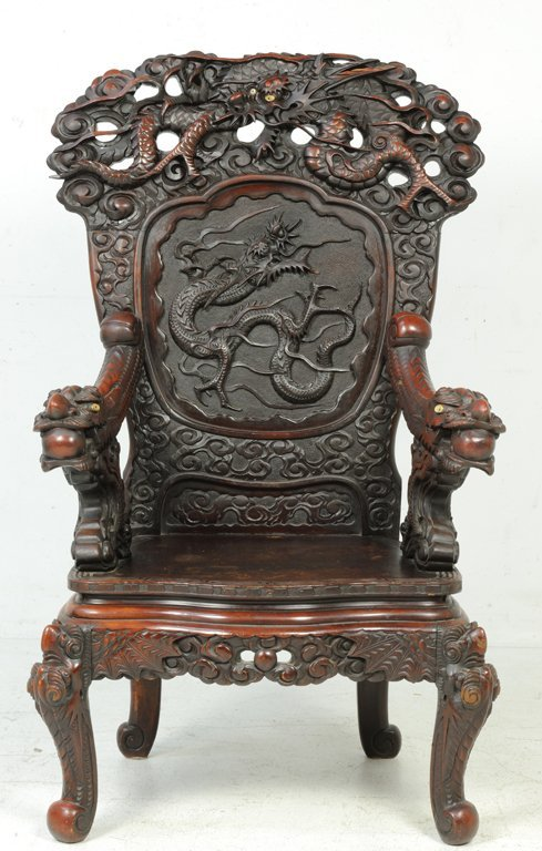 37: A RARE PAIR OF ANTIQUE CHINESE THRONE CHAIRS Late - 3