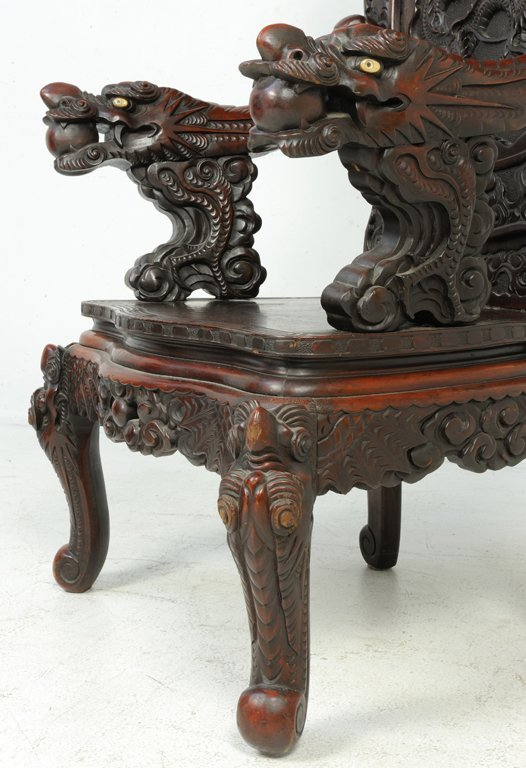 37: A RARE PAIR OF ANTIQUE CHINESE THRONE CHAIRS Late - 4