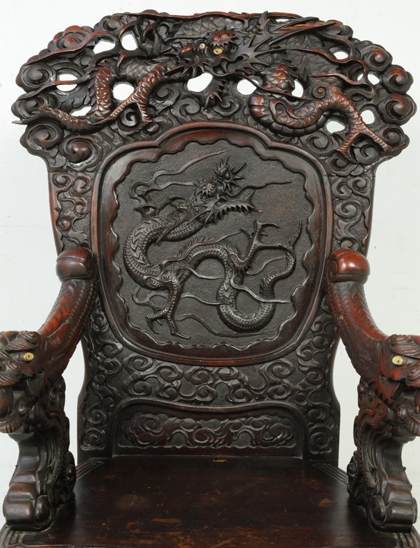 37: A RARE PAIR OF ANTIQUE CHINESE THRONE CHAIRS Late - 5