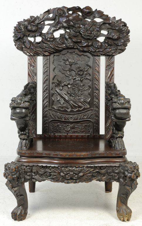 37: A RARE PAIR OF ANTIQUE CHINESE THRONE CHAIRS Late - 6