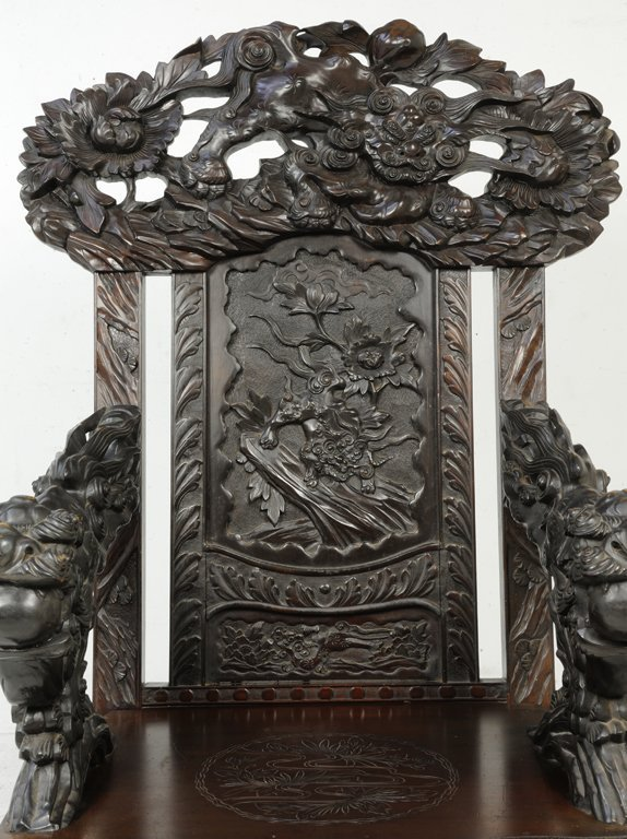 37: A RARE PAIR OF ANTIQUE CHINESE THRONE CHAIRS Late - 7