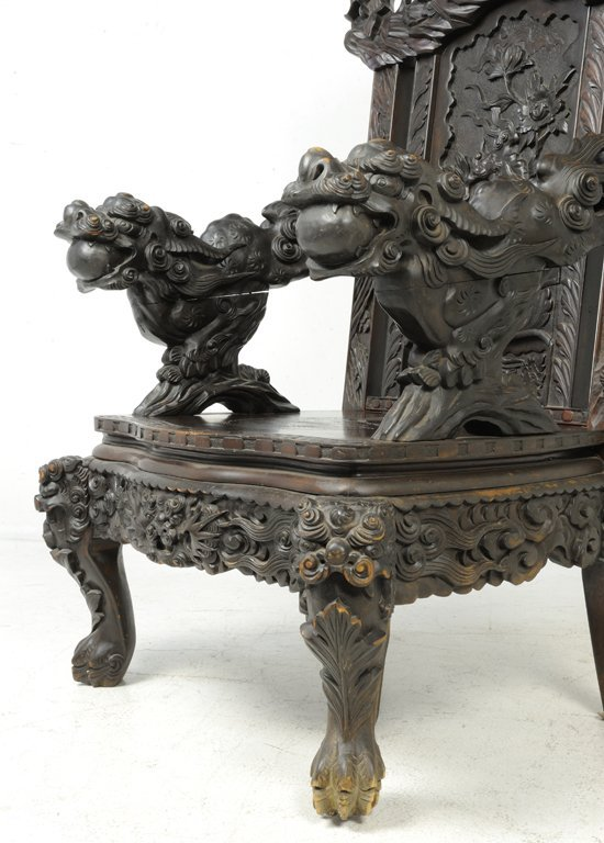 37: A RARE PAIR OF ANTIQUE CHINESE THRONE CHAIRS Late - 8