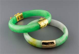 9: PAIR OF CHINESE CARVED JADE BANGLES
