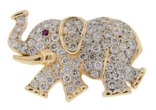 14: 14KT DIAMOND PAVE ELEPHANT BROOCH