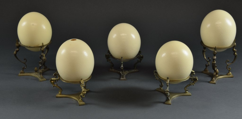 20: FIVE OSTRICH EGGS WITH STANDS