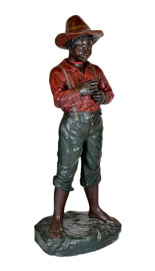 22: ANTIQUE FRENCH CHALKWARE AFRICAN AMERICAN BOY