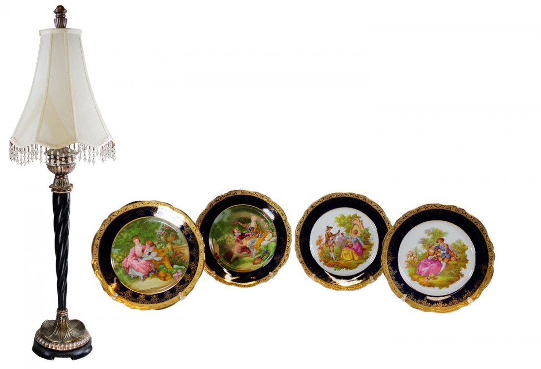 2: SET OF LIMOGES PICTORIAL PLATES AND A LAMP