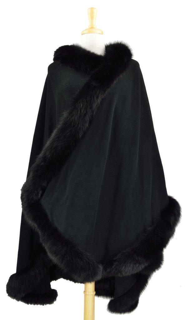 11: BLACK WOOL CAPE WITH FOX TRIM