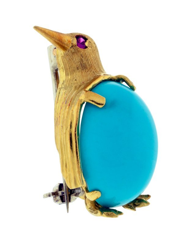 14: AN 18KT YELLOW GOLD TURQUOISE PIN Very good conditi