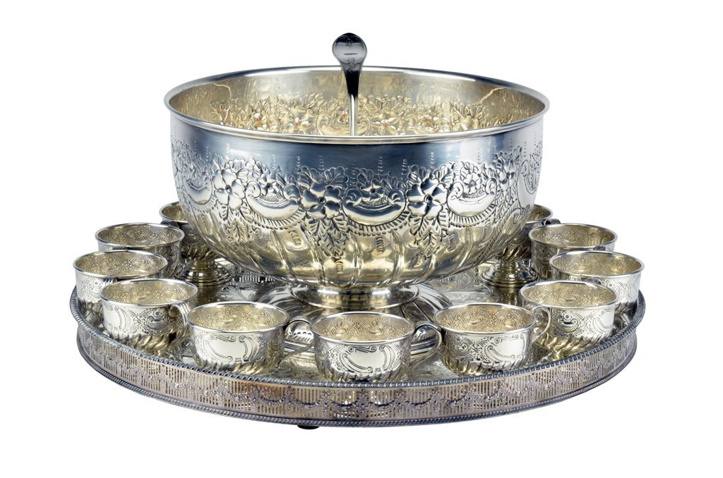 "1: A LARGE SHEFFIELD SILVERPLATE ""KENTSHIRE"" PUNCH BOWL"