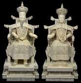60: A MONUMENTAL PAIR OF CHINESE CARVED IVORY ENTHRONED