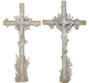 TWO ANTIQUE FRENCH IRON FUNERY CROSSES