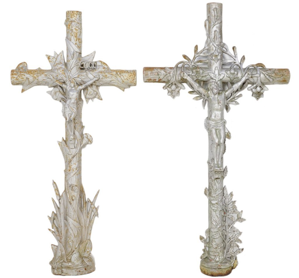 19: TWO ANTIQUE FRENCH IRON FUNERY CROSSES