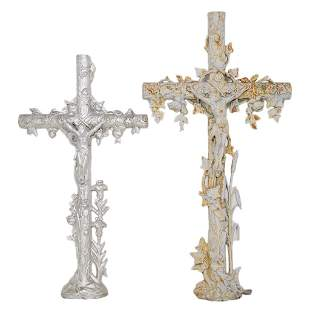 TWO ANTIQUE FRENCH FUNERY CROSSES