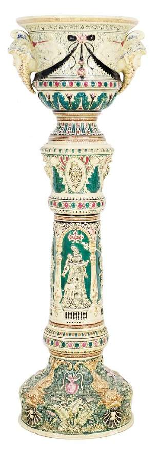 ANTIQUE MAJOLICA STYLE PEDESTAL AND JARDINIERE