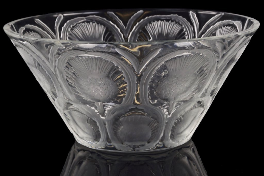 "1: A BRILLIANT AMERICAN LALIQUE ""THISTLE"" CRYSTAL BOWL"