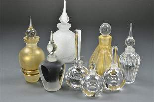 A COLLECTION OF EIGHT GLASS PERFUME BOTTLES