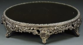 3: A VICTORIAN STYLE LARGE ROUND MIRRORED PLATEAU