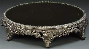 A VICTORIAN STYLE LARGE ROUND MIRRORED PLATEAU