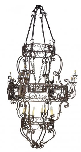 8: VINTAGE CHATEAU SIZE HAND WELDED WROUGHT IRON CHANDE