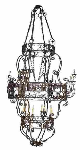 VINTAGE CHATEAU SIZE HAND WELDED WROUGHT IRON CHANDE
