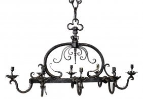10: ART DECO STYLE HAND FORGED IRON CHANDELIER