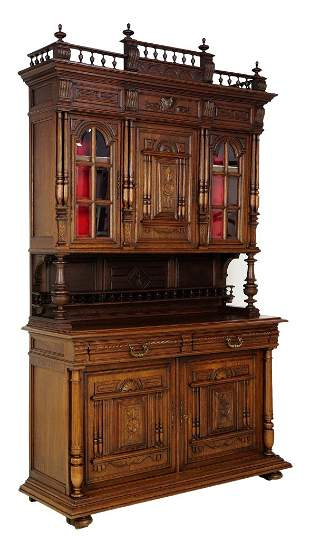 ANTIQUE FRENCH VICTORIAN STYLE OAK BUFFET