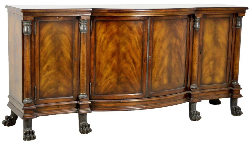 18: HICKORY WHITE, EMPIRE STYLE WALNUT SIDEBOARD