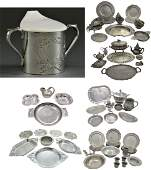 180 AMERICAN SILVERPLATED AND PEWTER GROUPING
