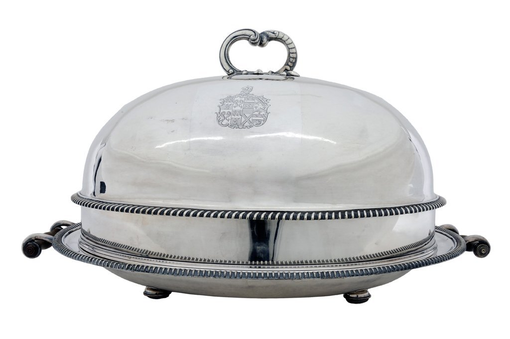3: A GEORGE III STYLE SILVER PLATE COVERED FOOD WARMER