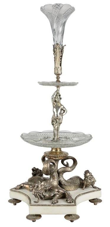 4: A LOUIS XVI STYLE SILVERED BRONZE CRYSTAL THREE TIER