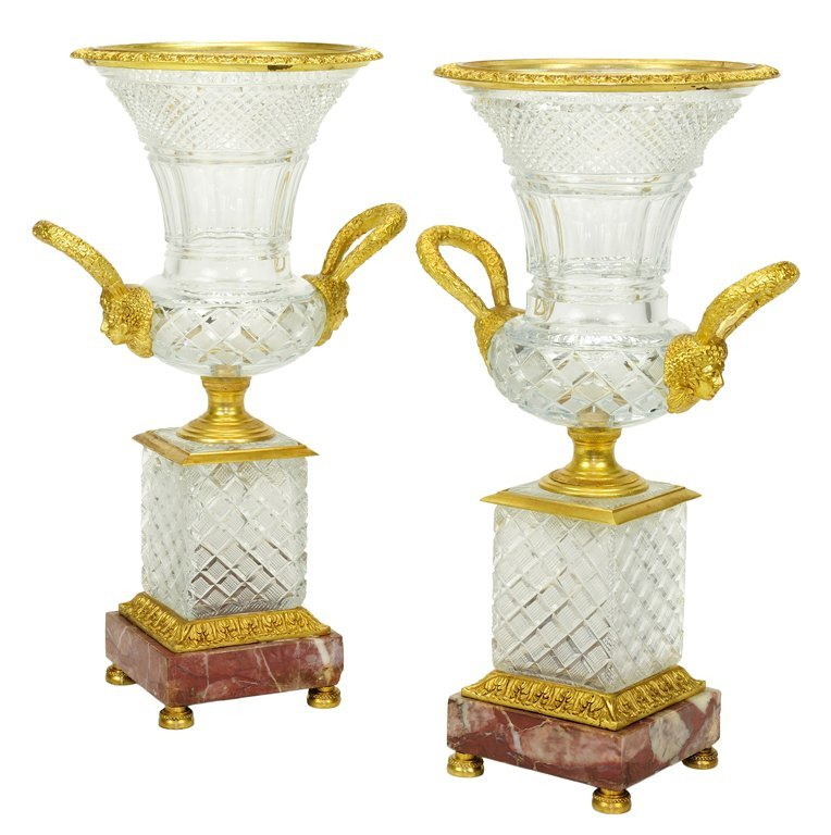 22: A PAIR OF CHARLES X STYLE CUT CRYSTAL URNS WITH BRO