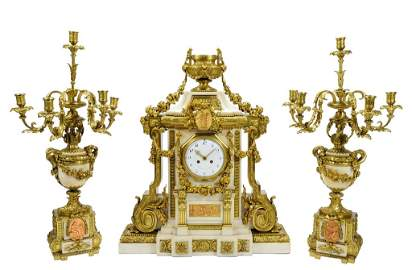49: A JAPY FILS LOUIS XVI THREE PIECE BRONZE DORE AND M