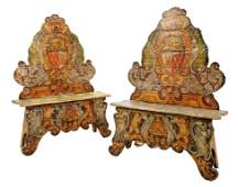 74: A PAIR OF LONG ANTIQUE ITALIAN POLYCHROMED SCABELLO