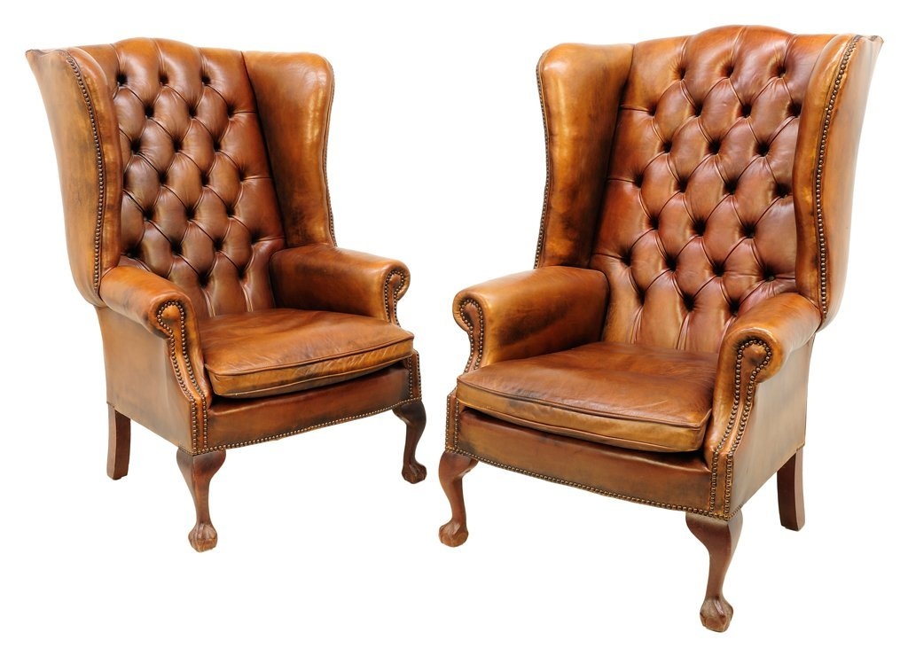 103: A PAIR OF FRENCH STYLE LEATHER WING BACK CHAIRS 20