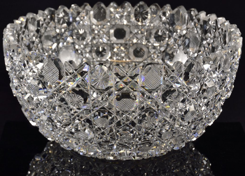A LARGE CRYSTAL BOWL