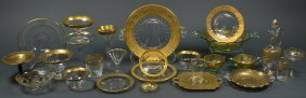 A COLLECTION OF GOLD RIM ENTERTAINMENT GLASSWARE AND DI