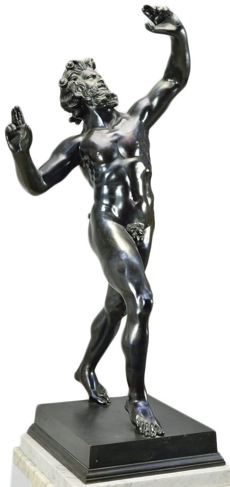 ITALIAN BRONZE STATUE OF FAUN WITH MARBLE BASE