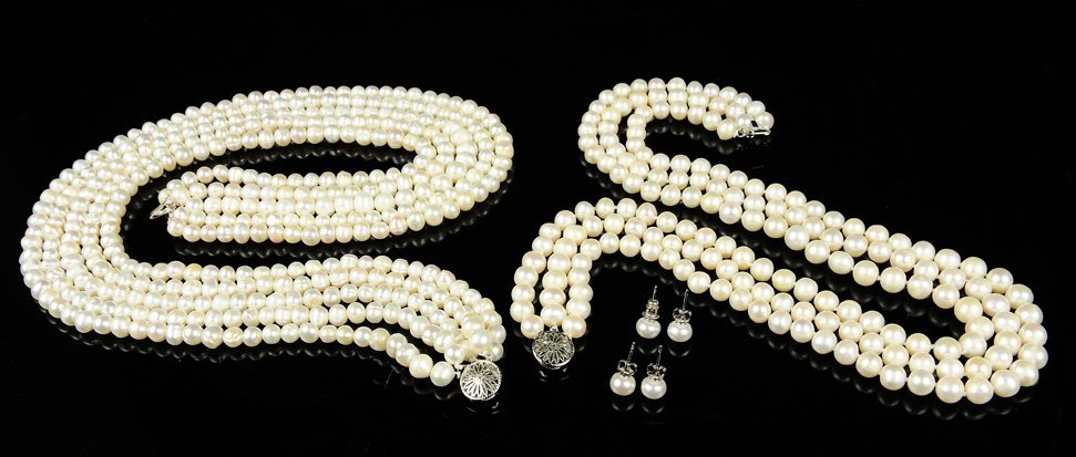 TWO MULTI STRAND WHITE CULTURED PEARL NECKLACES AND EAR