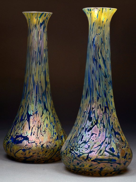 TWO LARGE MULTI COLORED VASES