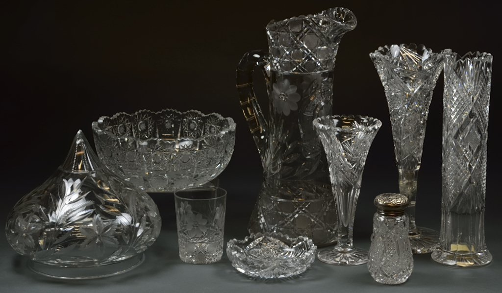 A GROUPING OF NINE ANTIQUE AMERICAN BRILLIANT STYLE CRY