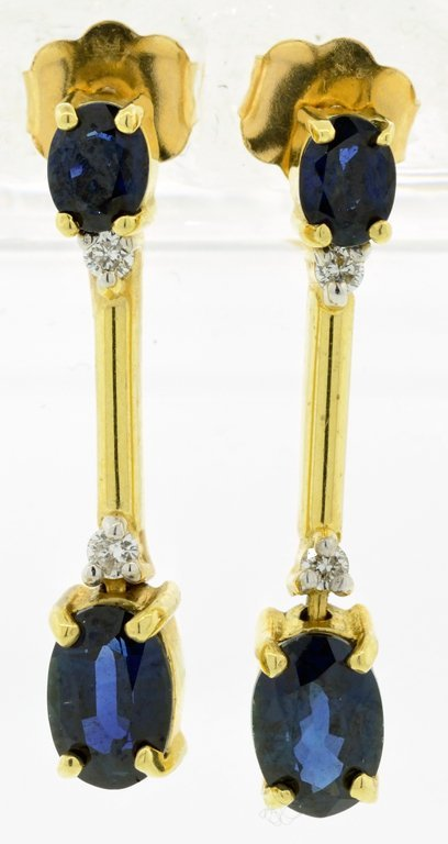 ANTIQUE YELLOW GOLD BLUE SAPPHIRE AND DIAMOND EARRINGS