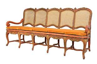 A SPANISH COLONIAL RED PAINTED FIVE SEAT SETTEE 19th Ce