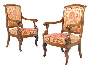 AN ANTIQUE PAIR OF EMPIRE STYLE MAHOGANY ARMCHAIRS 3rd