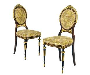 A PAIR OF LOUIS XVI STYLE PARCEL GILT PIANO CHAIRS
