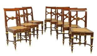 A SET OF EIGHT BALTIC STYLE MAHOGANY AND BRONZE MOUNT S