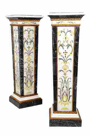 A PAIR OF NEOCLASSICAL STYLE SPECIMEN MARBLE AND PARCEL